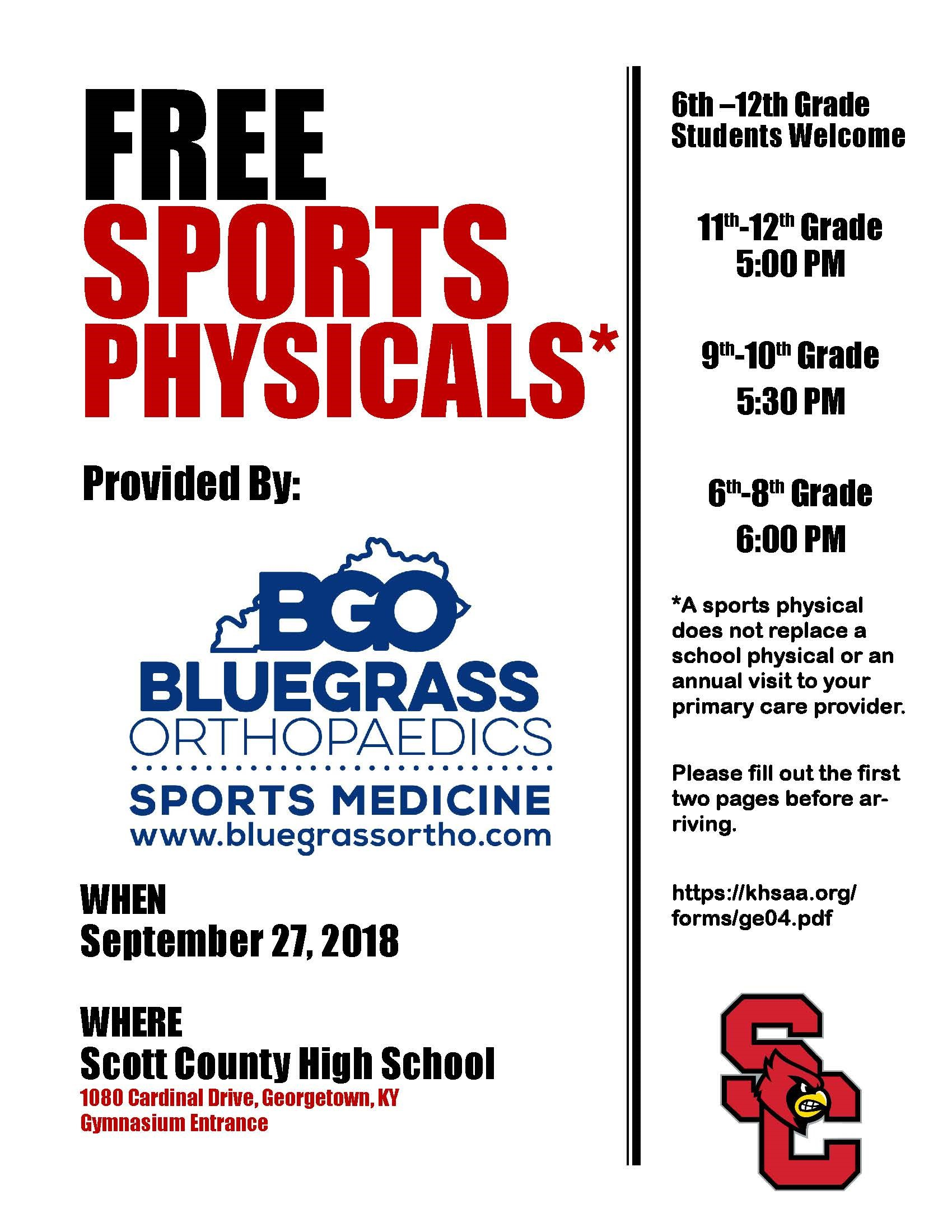 Free Sports Physicals Scott County Schools